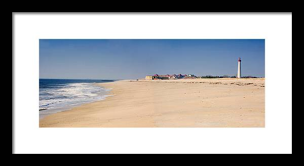 Architecture Framed Print featuring the photograph Cape May Beach Panorama New Jersey by George Oze