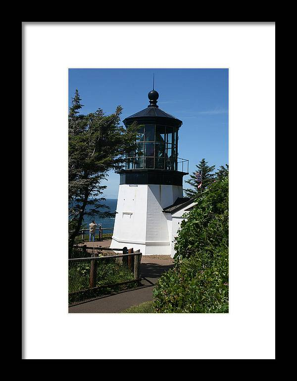 Lighthouse Framed Print featuring the photograph Cape Meares Lighthouse Li 100 by Mary Gaines