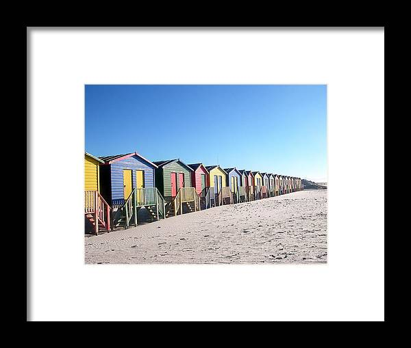 Cape Town Framed Print featuring the photograph Cape Town Beachhuts by Linda Russell