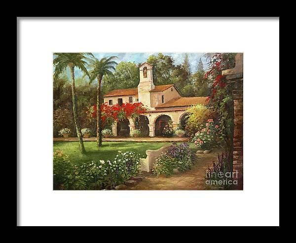 San Juan Capistrano Framed Print featuring the painting Capistrano Courtyard by Gail Salituri