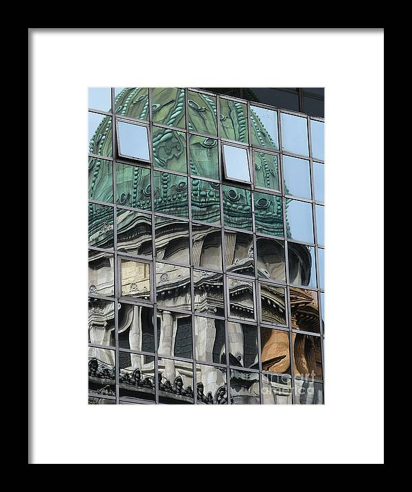 Window Framed Print featuring the photograph Capitol Reflection by Jeff White