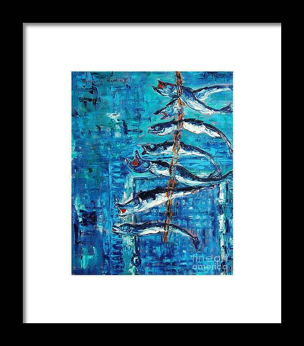 Fish Painting Framed Print featuring the painting Caplin by Seon-Jeong Kim