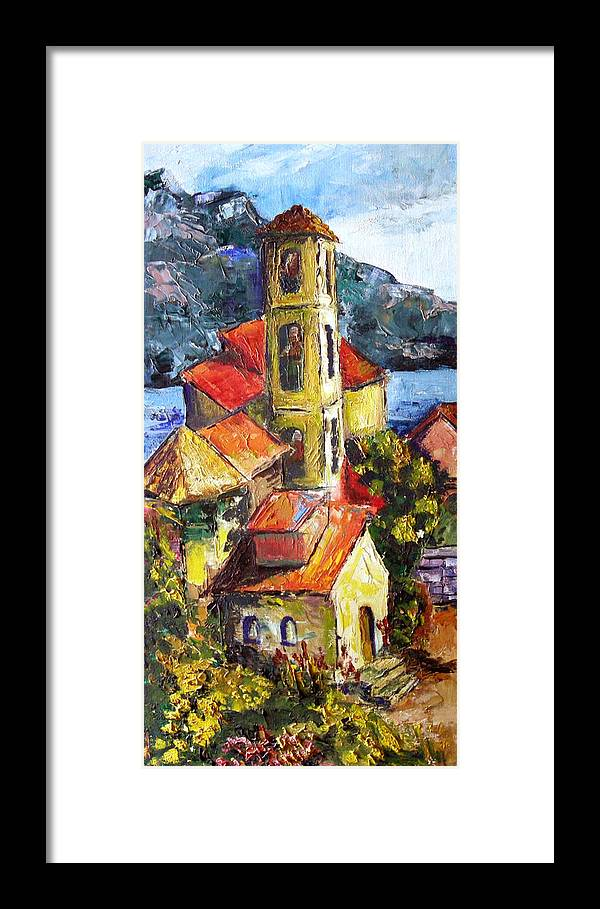 Buidings Framed Print featuring the painting Capri by Olga Kaczmar
