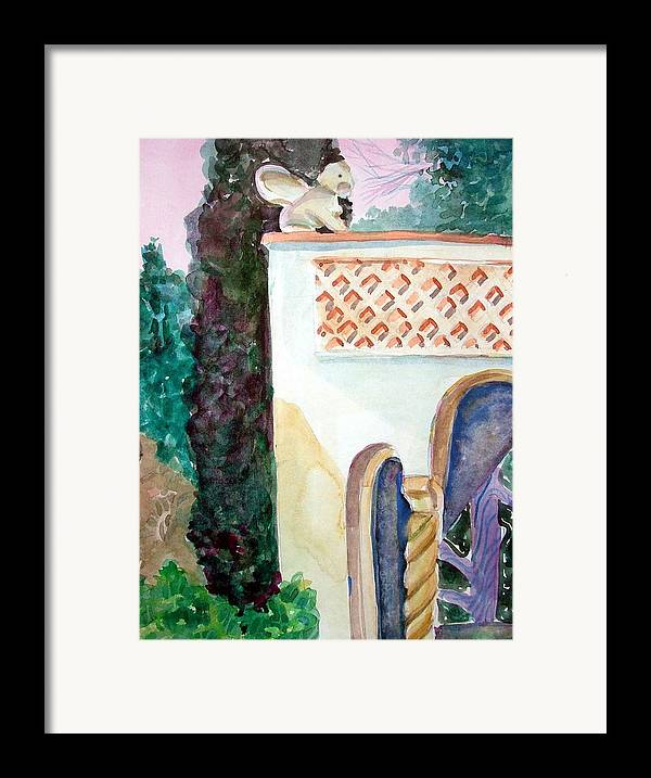 Capri Framed Print featuring the painting Capri Sphinx by Mindy Newman