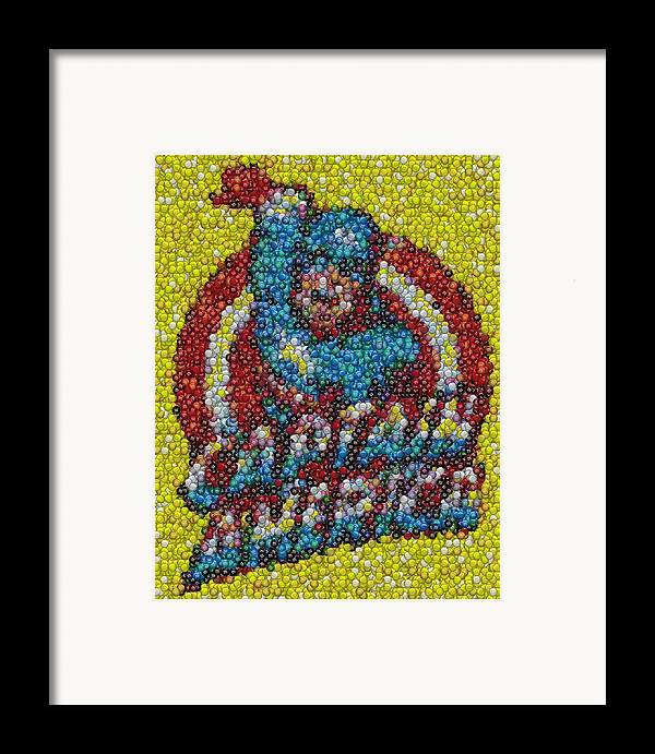 Superhero Framed Print featuring the mixed media Captain America Mm Mosaic by Paul Van Scott