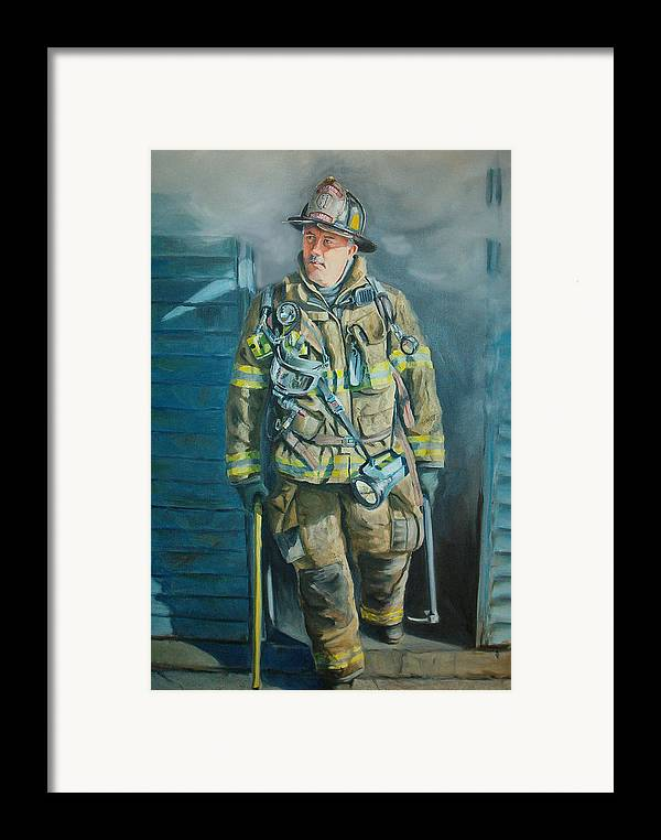 Firefighter Framed Print featuring the painting Captain Harris by Paul Walsh
