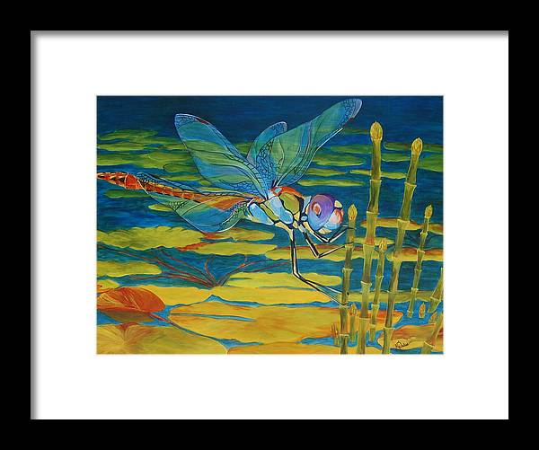 Dragonfly Framed Print featuring the painting Captivated by Karen Dukes