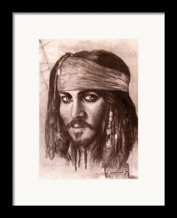 Pirate Framed Print featuring the drawing Capt.jack by Jack Skinner