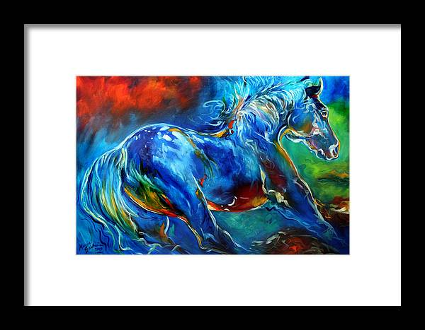 Horse Framed Print featuring the painting Captured Wild Stallion by Marcia Baldwin
