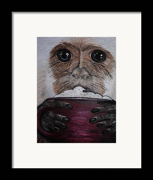 Capuchin Framed Print featuring the painting Capuchino by Sharon Supplee