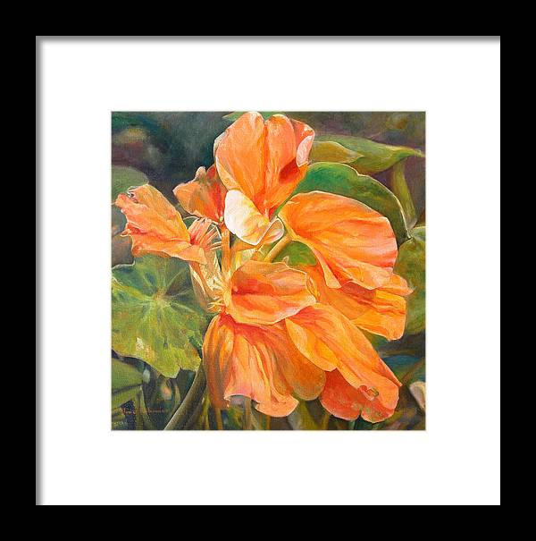 Floral Painting Framed Print featuring the painting Capucine by Muriel Dolemieux
