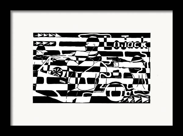 Lojack Framed Print featuring the drawing Car-jacking Maze For Lojack Advert by Yonatan Frimer Maze Artist