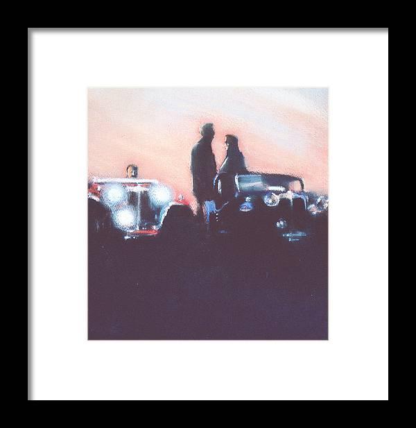 Cars Framed Print featuring the mixed media Car Rally At Sunset by Linda Crockett