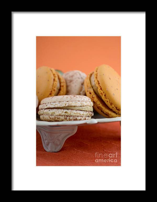 Bake Framed Print featuring the photograph Caramel And Vanilla Macaroons by Milleflore Images
