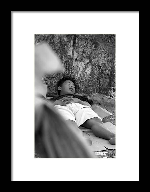 Jez C Self Framed Print featuring the photograph Cardboard Divan by Jez C Self