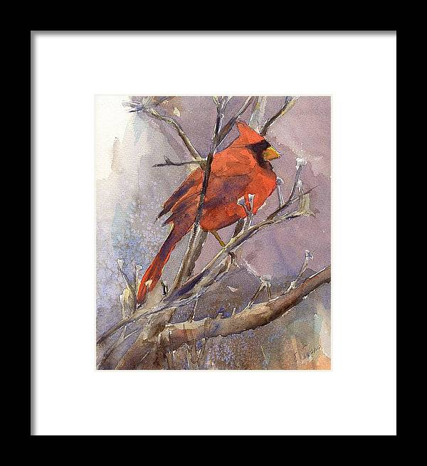 Nature Framed Print featuring the painting Cardinal - Male by Elizabeth Evans