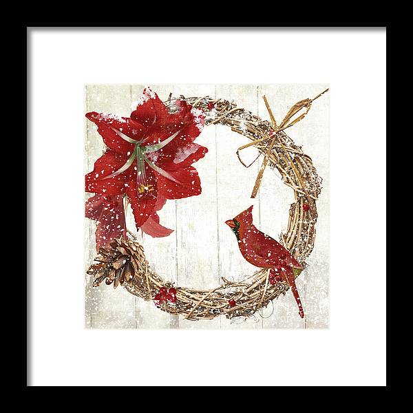 Cardinal Framed Print featuring the painting Cardinal Holiday II by Mindy Sommers