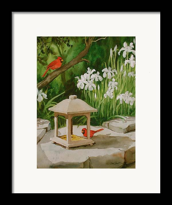 Birds Framed Print featuring the painting Cardinals Feeding by Faye Ziegler