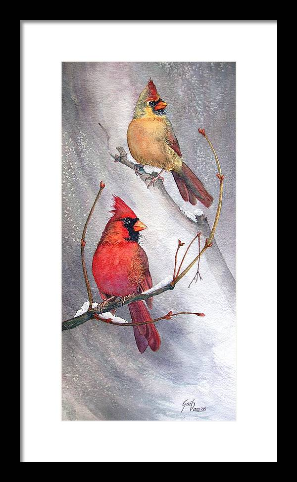 Cardinals Framed Print featuring the painting Cardinals by Gail Vass