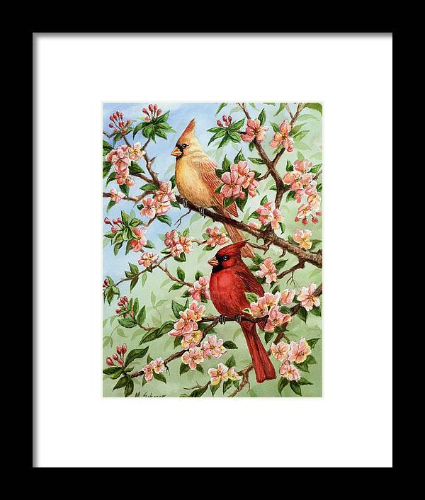 Painting Of Cardinals In Watercolor Framed Print featuring the painting Cardinals In Apple Blossoms by Michael Scherer