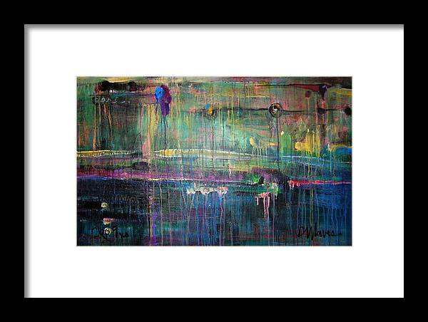 Abstract Framed Print featuring the painting Care by Laurie Maves ART