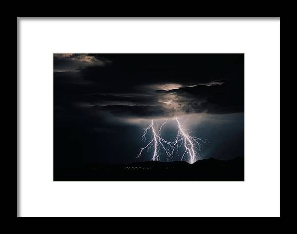 Arizona Framed Print featuring the photograph Carefree Lightning by Cathy Franklin