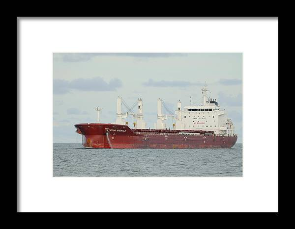 Freighter Framed Print featuring the photograph Cargo Ship Four Emerald by Bradford Martin