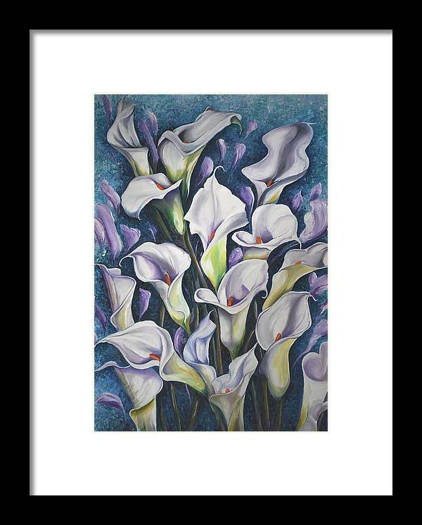 Caribbean Framed Print featuring the painting Caribbean Callas by Karin Dawn Kelshall- Best
