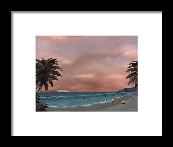 Contemporary Tropical Seascape Sailing Fishing Island Lighthouse Nature Sunset Gordon Beck Framed Print featuring the painting Caribbean Dreams by Gordon Beck