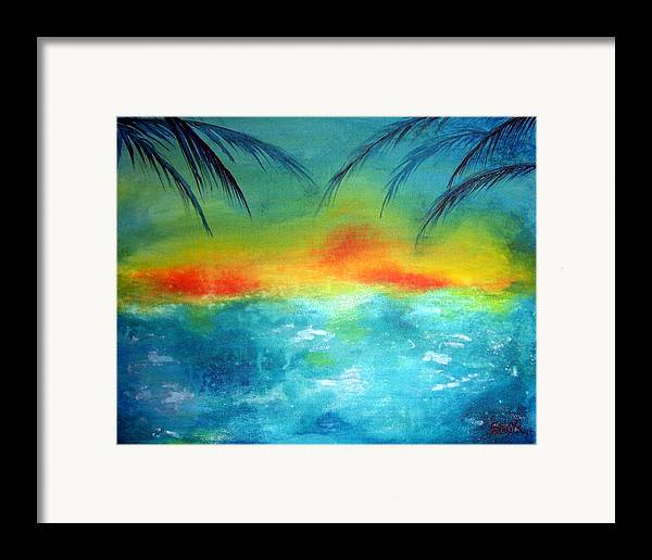 Vivid Contemporary Seascape Framed Print featuring the painting Caribbean Dreams by Shasta Miller
