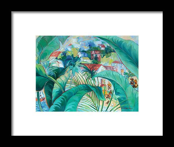 Caribbean Figures Framed Print featuring the painting Caribbean Fantasy by Dianna Willman