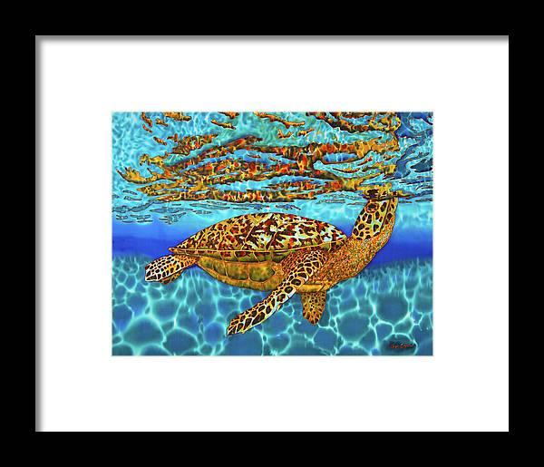 Batik.silk Painting Framed Print featuring the painting Caribbean Hawksbill Sea Turtle by Daniel Jean-Baptiste