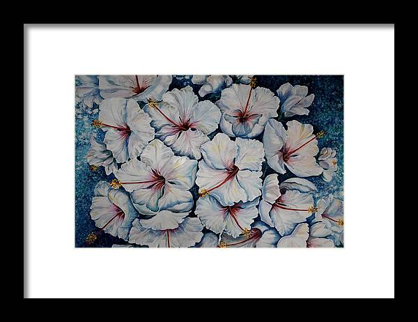 White Hibiscus Framed Print featuring the painting Caribbean Hibiscus by Karin Dawn Kelshall- Best