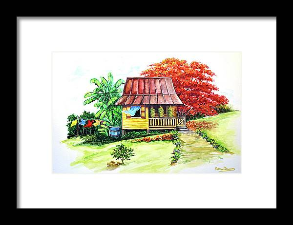 Old House Framed Print featuring the painting Caribbean House On The Hill by Karin Dawn Kelshall- Best