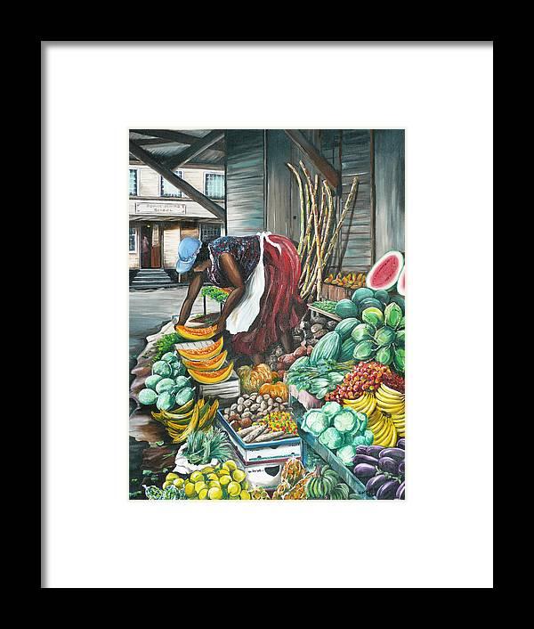 Caribbean Painting Market Vendor Painting Caribbean Market Painting Fruit Painting Vegetable Painting Woman Painting Tropical Painting City Scape Trinidad And Tobago Painting Typical Roadside Market Vendor In Trinidad Framed Print featuring the painting Caribbean Market Day by Karin Dawn Kelshall- Best