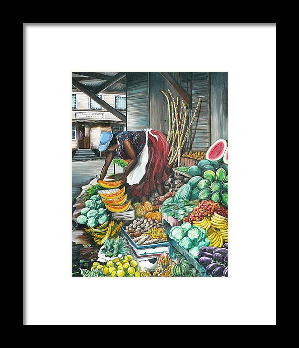 Caribbean Painting Market Vendor Painting Caribbean Market Painting Fruit Painting Vegetable Painting Woman Painting Tropical Painting City Scape Trinidad And Tobago Painting Typical Roadside Market Vendor In Trinidad Framed Print featuring the painting Caribbean Market Day by Karin Dawn Kelshall- Best