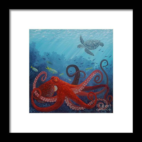 Octopus Framed Print featuring the painting Caribbean Reef Octopus by Danielle Perry