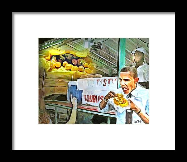 Obama Framed Print featuring the painting Caribbean Scenes - Obama Eats Doubles In Trinidad by Wayne Pascall