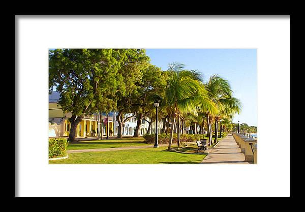 Caribbean Framed Print featuring the painting Caribbean Waterfront by Linda Morland