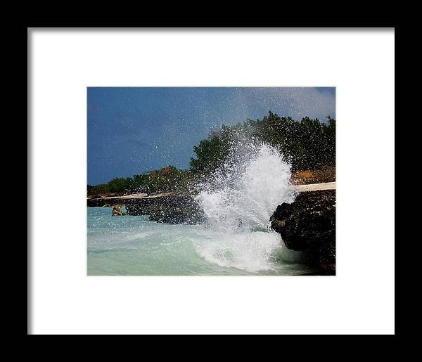 Ocean Framed Print featuring the photograph Caribe Splash by James Harper