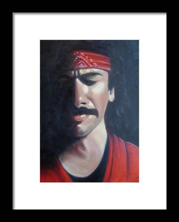 Santana Framed Print featuring the painting Carlos Santana by Toni Berry