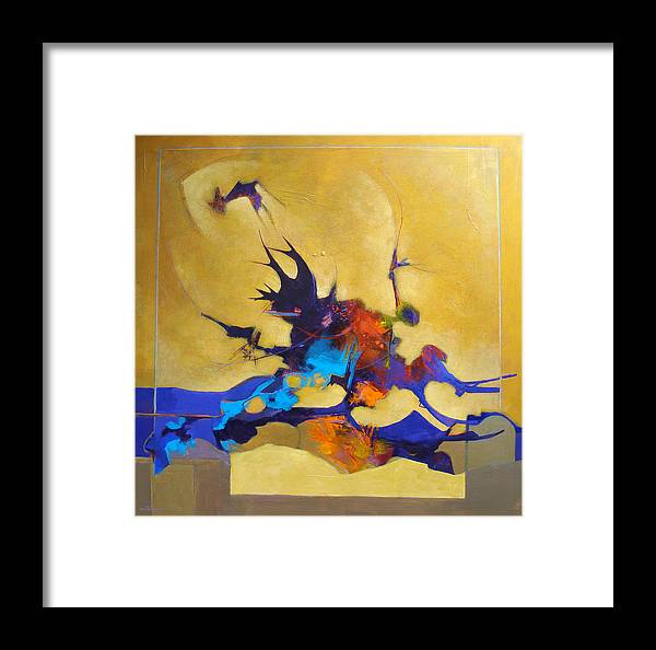 Abstract Framed Print featuring the painting Carl's Bridge by Dale Witherow