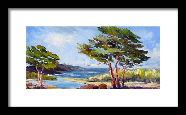 Landscape Painting Of Carmel Framed Print featuring the painting Carmel By The Sea by Barbara Moore