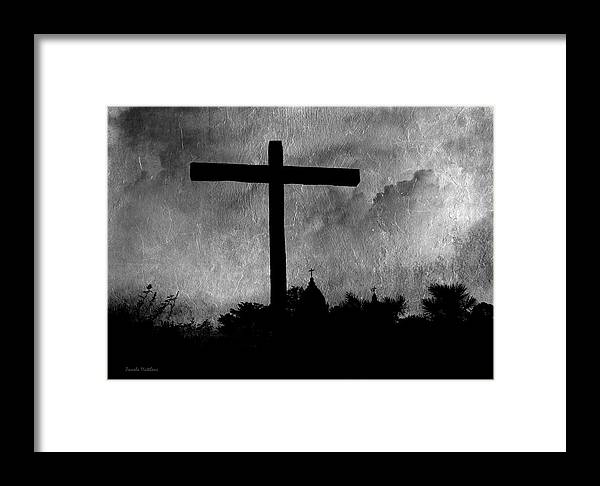 Landscape Framed Print featuring the photograph Carmel Mission Cross by Pamela Matthews