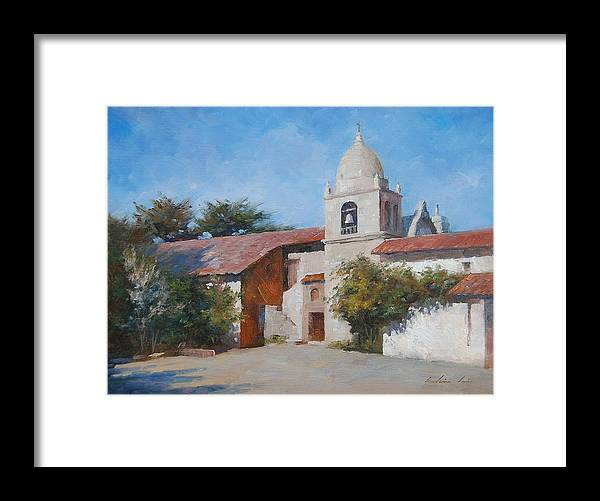 Landscape Framed Print featuring the painting Carmel Mission by Kelvin Lei