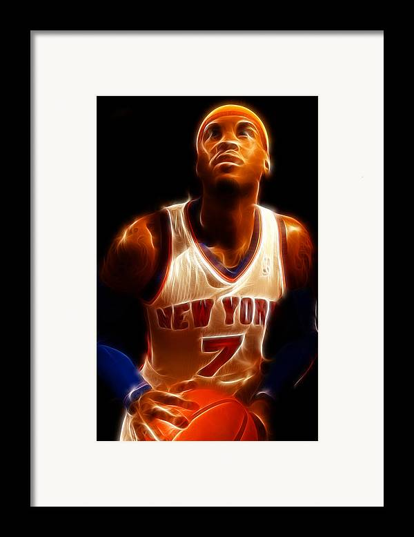 Lee Dos Santos Framed Print featuring the photograph Carmelo Anthony - New York Nicks - Basketball - Mello by Lee Dos Santos