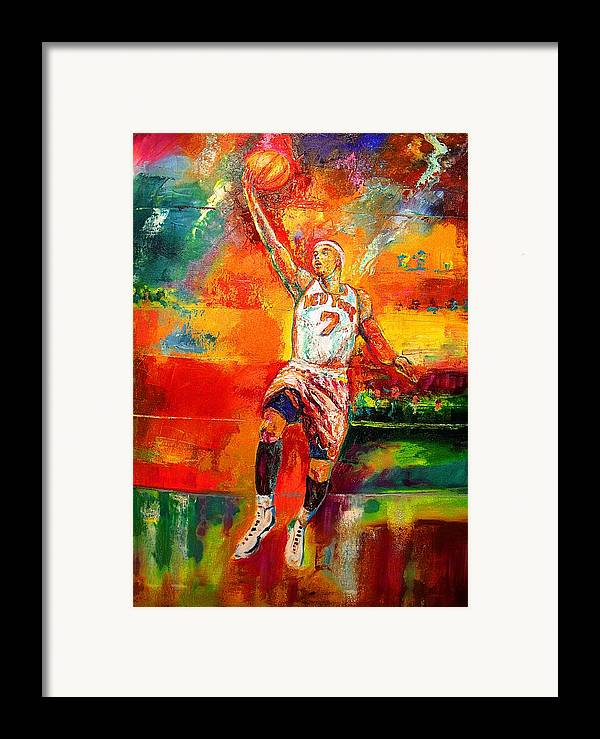 Carmel Anthony Basketball New York Knicks Framed Print featuring the painting Carmelo Anthony New York Knicks by Leland Castro