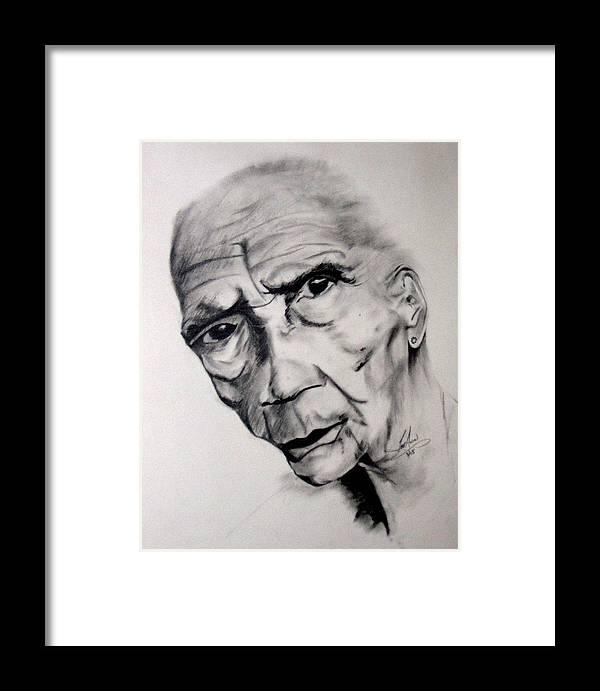 Portrait Framed Print featuring the drawing Carmen by LeeAnn Alexander