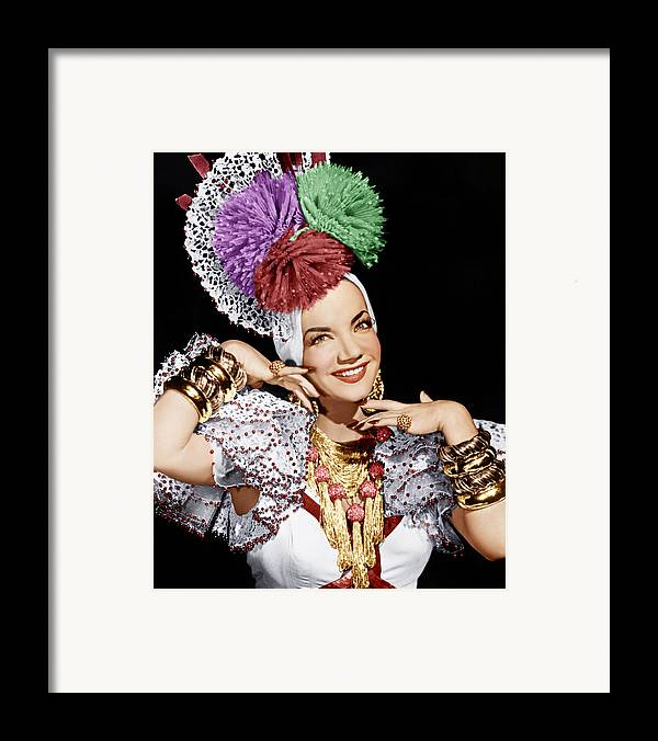 1940s Portraits Framed Print featuring the photograph Carmen Miranda, Ca. 1940s by Everett