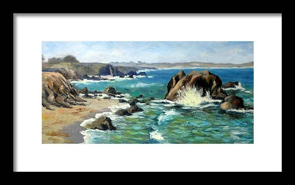 Ocean Framed Print featuring the painting Carmet Beach by Char Wood